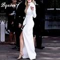 Bqueen 2017 recién llegado de blanco sexy mesh insertar dividir delgado maxi dress vestido