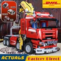 Моторизованный кран грузовик 20013 технологические строительные блоки с электрическим функции механические Модель Кирпичи Игрушка LegoINGlys 8258