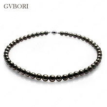 6-12mm Large Tahitian Black Pearl Necklace Natural 18K GOLD  Seawater Wedding Jewelry Round Pearl For Luxury Necklace