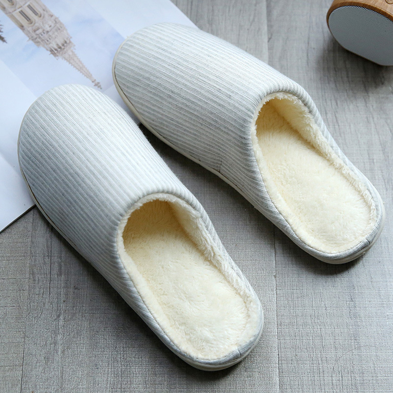 2018 new winter Japanese home indoor cotton slippers thickening couple men and women stripes simple warm shoes