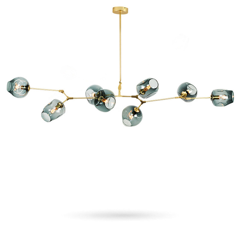 Modern Chandeliers Lights Fixtures Living Room Restaurant Decoration Black Gold Branches Pendant Lamp Glass Ball Adjust