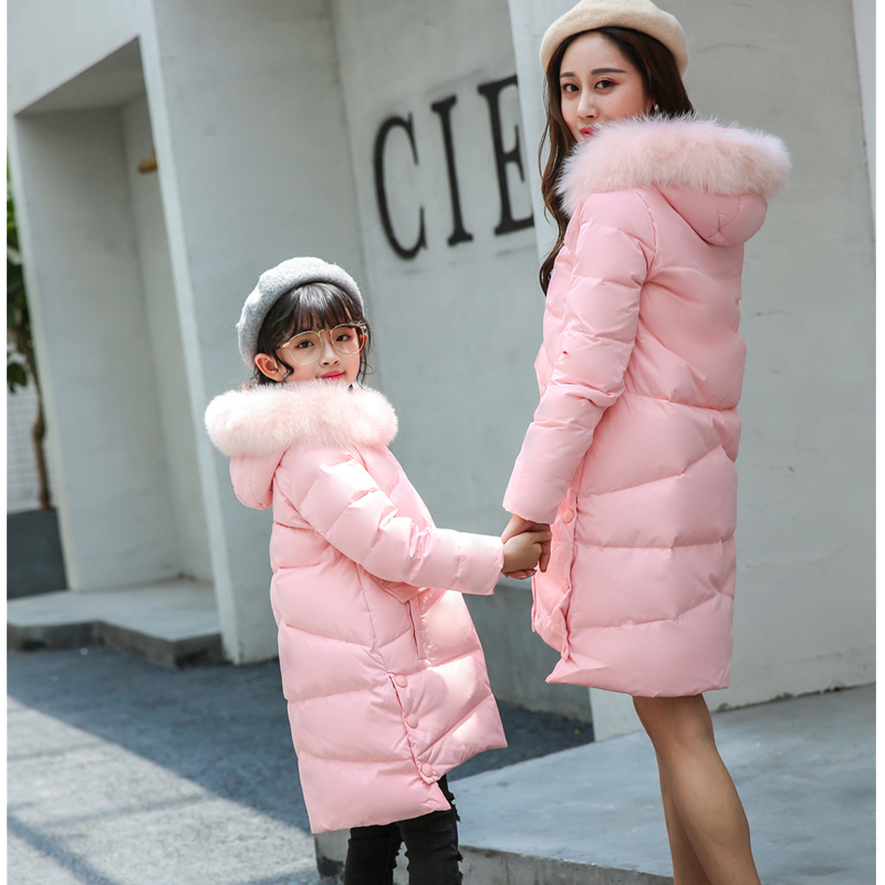 где купить Feather Coats Fur Hooded Down Jackets for Girl and Mother Winter Family Matching Clothing 6 8 10 12 14 16 Teenage Girl Outfit по лучшей цене