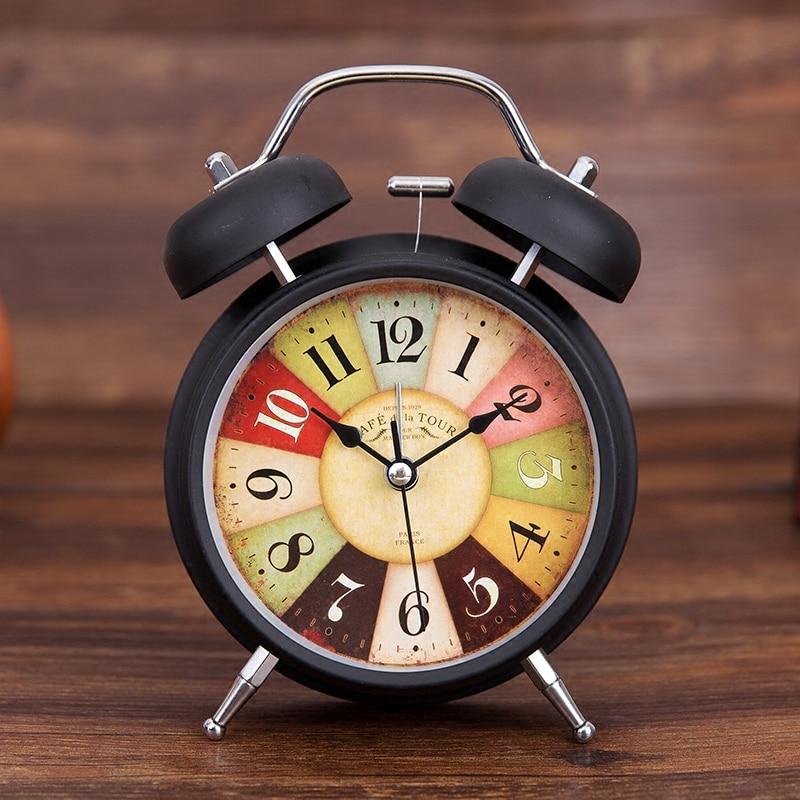 Continental retro bell knock lazy mute student bedside luminous super loud alarm clock LED Fluorescent Digital Alarm Clock with