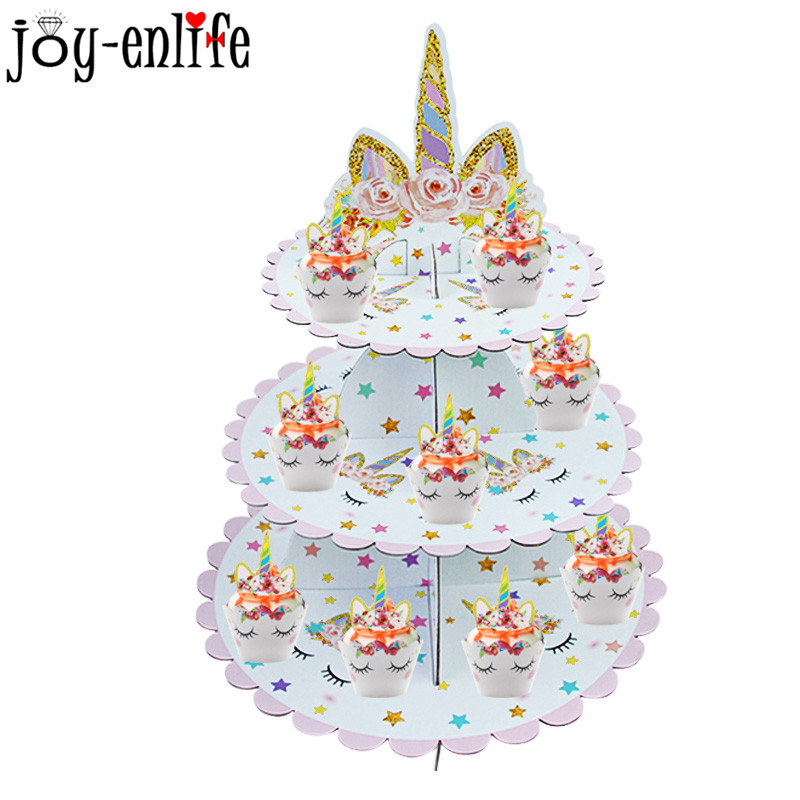 1set Birthday Party Decoration Rainbow Unicorn 3 tier Paper Cake Stand Baby Shower Unicornio Party Cupcake Stand Holder Supplies in Party DIY Decorations from Home Garden