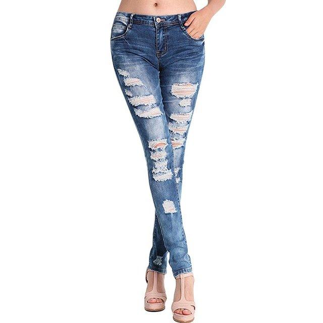 Jeans Stretch Mulheres Meninas Buraco Rasgado Calças de Algodão Azul Jeans de Cintura Alta Lápis Skinny Slim calças de Brim Das Senhoras