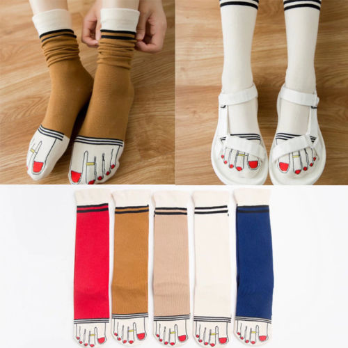 Women Ladies Girls Casual Cute Funny Cartoon Five Fingers Toe Cotton Warm Socks