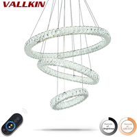 Dimmable LED Ring Crystal Pendant Lights Indoor Modern Pendant Light Home Lamp Deco Hanging Lamps Fixtures