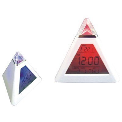 7 Color LED Pyramid Digital LCD Alarm Clock Thermometer
