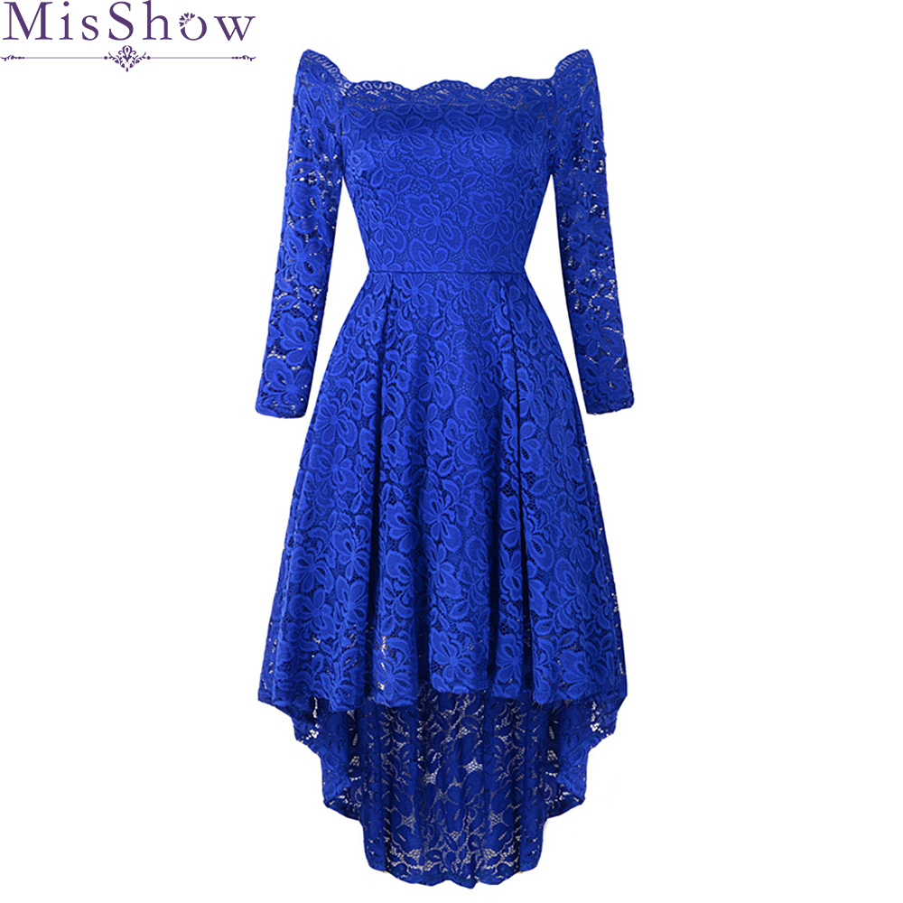 2019 asymmetry homecoming dress Royal blue 3/4 Sleeve tea length Long gown women graduation lace homecoming dresses