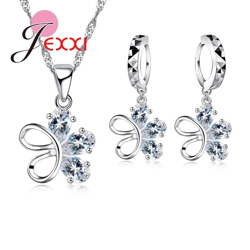 JEXXI Personality Asymmetry Crystal CZ Crystal Flower Butterfly Necklace Earrings Sets Bijoux Wedding Dress Accessories Jewelry
