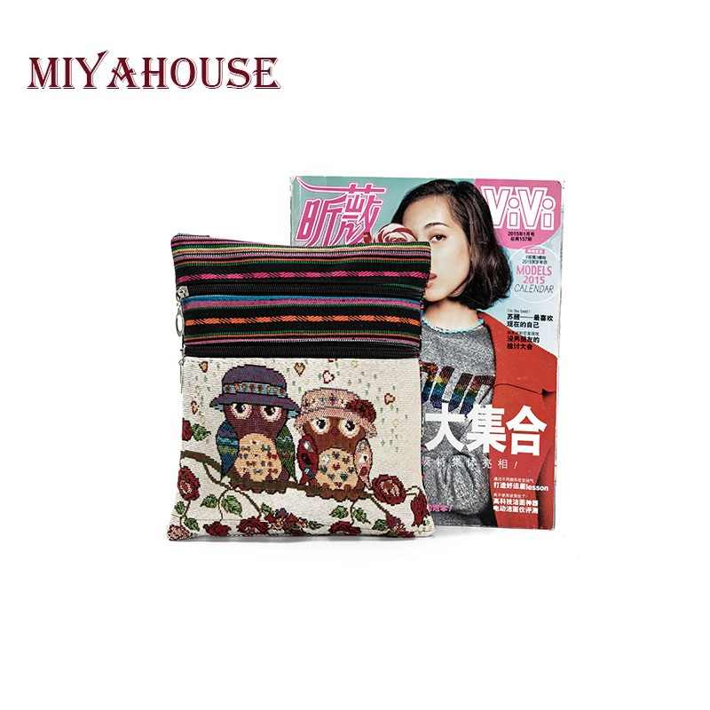 Miyahouse Double Zipper Cartoon Owl Printed Mini Flap Bag Shoulder Bag Suitable For All Occasions Summer Mini Women Travel Bag