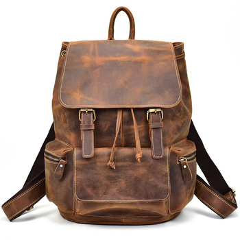 100% Genuine Leather Men Backpacks Crazy Horse Real Natural Leather Student Backpack Boy Luxury Brand Business Laptop School Bag