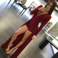 Black/Red Unique design Women Lace Up Maxi Overlay Jumpsuit Rompers Sexy Long Sleeve Bodysuit Playsuit