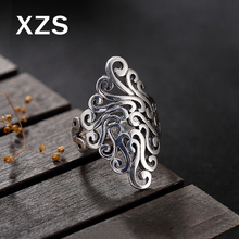 100% Genuine S925 Sterling Silver Chinese Style Hand Made Vintage Rings Women Luxury Valentines Day Gift Jewelry JZCN-18009