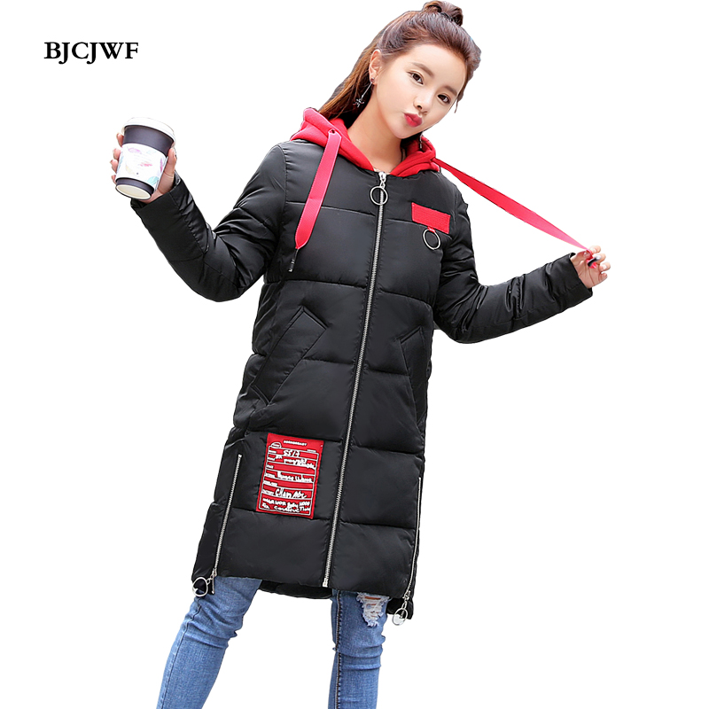 BJCJWF New Fashion Winter Jacket Women Red Hooded 2017 Long Coat Cotton Padded Thicken Warm Lady Parkas Female Loose Outerwear bjcjwf 2017 winter jacket women wadded long parkas female outerwear hooded coat cotton padded fur collar parka thicken warm 1pc