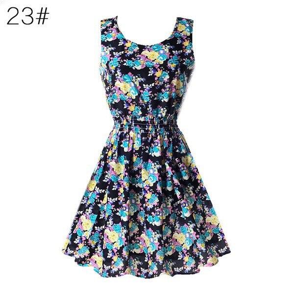 HTB1g9sBNmzqK1RjSZFpq6ykSXXau Fashion Women Sexy Chiffon Beach Dress Sleeveless Summer Sundress Floral Tank Dresses 20 Colors