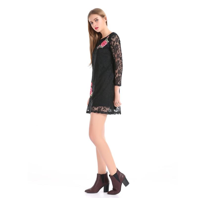 LERFEY Svart kjole Kvinner Vår Elegant Broderi Blomster Blonder - Kvinneklær - Bilde 5