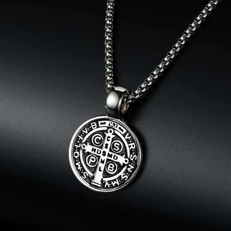 17ef7b38cfb ... ZFVB Classic Saint Benedict Cross Pendant Necklace Mens 316L Stainless  steel Never Fade Catholic Church Medal ...
