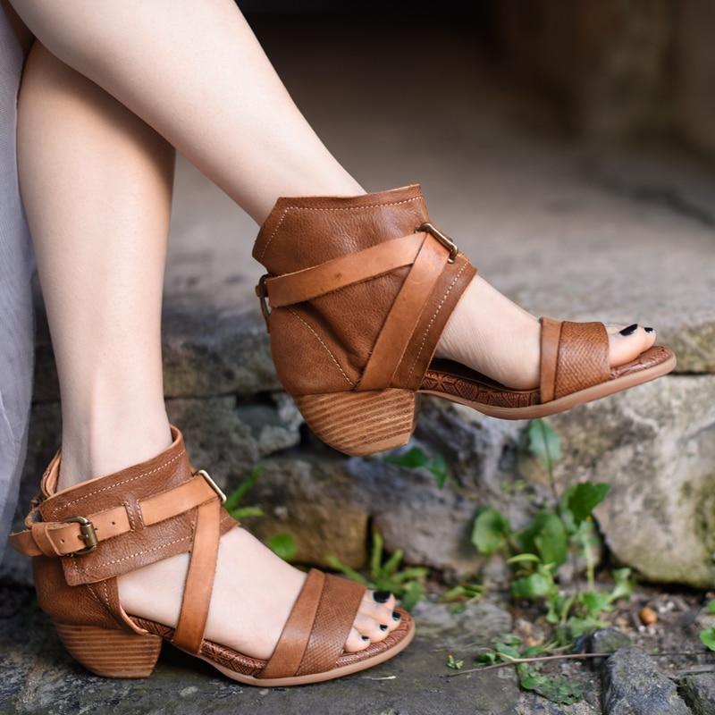 Artmu Original New Retro High Heels Women Sandals Comfortable Coarse-heeled Genuine Leather Handmade Rome Sandals 1056-1Artmu Original New Retro High Heels Women Sandals Comfortable Coarse-heeled Genuine Leather Handmade Rome Sandals 1056-1