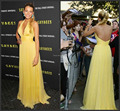 Sexy cabestro piso longitud sin respaldo Formal Jennifer Rihanna Lopez 2015 caliente venta Blake Lively Celebrity Yellow Red Carpet vestidos