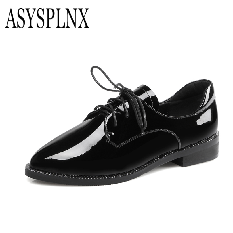 ASYSPLNX brand cow Genuine leather pointed toe oxfords wedding dress shoes Spring fashion women lace up shoes oxford shoes woman cosidram pointed toe women oxfords spring autumn fashion women flats pu leather lace up women shoes ladies 2017 bsn 023