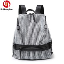 Women Fashion Hollow Out Backpack Canvas Casual Shoulders Soft Handle Travelling Bag Large Capacity Grid Ventilation