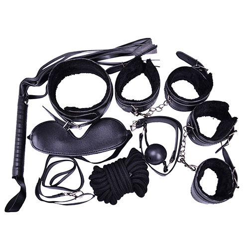 Hot! 7 Pcs Restraint Bondage Plush Cuffs Strap Whip Rope Neck Adult Sex Game Toys Set sex bondage kit set 7 pcs sexy product set adult games toys set hand cuffs footcuff whip rope blindfold couples erotic toys