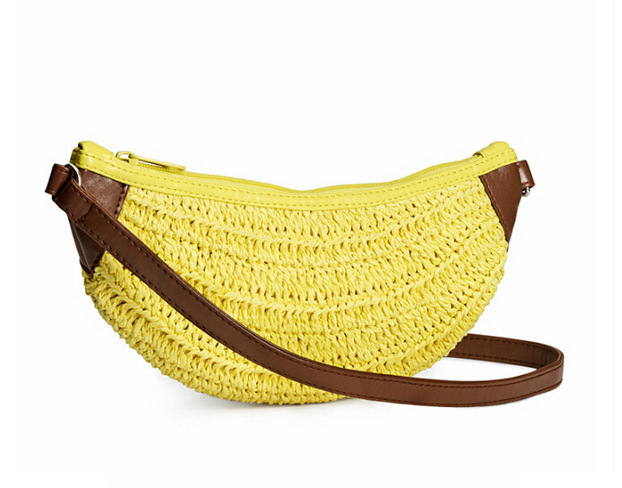 27*11CM Banana shaped  female bag Crochet bag Straw material cute fruit women messenger bags A2284