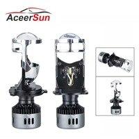 Aceersun H4 LED Mini Projector Lens Hi/lo Beam Car LED Headlight 48W 9600LM 6500K 12V Automobles LED Bulbs LED Conversion Kit