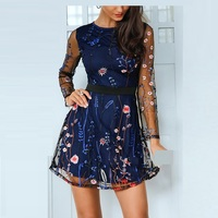 Elegant Sexy Long Sleeve Mesh Floral Embroidery Runway Dress Summer Short Dress runway 2018 high quality designer shift dress