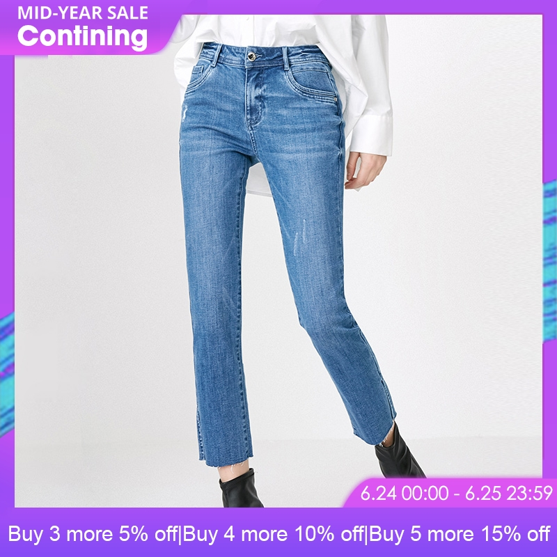ONLY 2019 spring new split low waist cropped straight   jeans   | 118149662