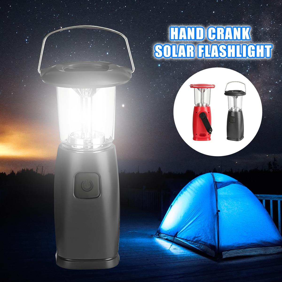 Smuxi LED Hand Flashlight Rechargeable Led Emergency Light 6 High Brightness Crank Solar Camping Traveling Lamp Light
