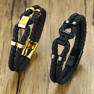 Image 4 - Vnox pulsera de cuero negro con broche de acero inoxidable para hombre, brazalete de piel auténtica, estilo chino, informal