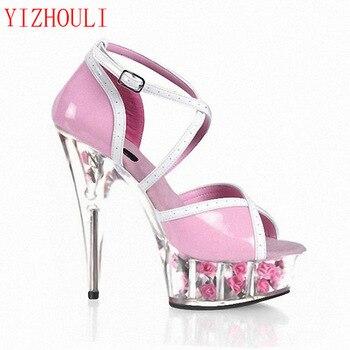 Beautiful Flower Detail 15CM Super High Heel Platforms Pole Dance/Performance /Star /Model Shoes, Sandals, Party / Wedding Shoes