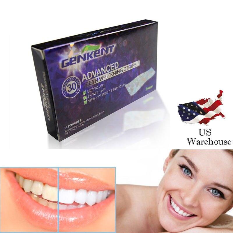 GENKENT 14Pairs Teeth Whitening Strips Gel Care Oral Hygiene Cleaner Dental Bleaching Tooth Whitening Bleach Teeth Whiten Tools