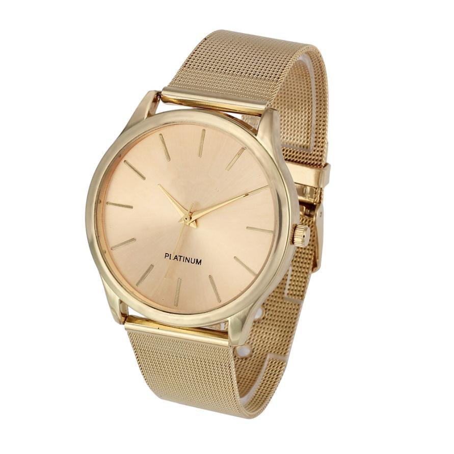 Üstün Yeni Moda Klasik Altın Kuvars Paslanmaz Çelik Bilek İzle - Kadın Saatler - Fotoğraf 1