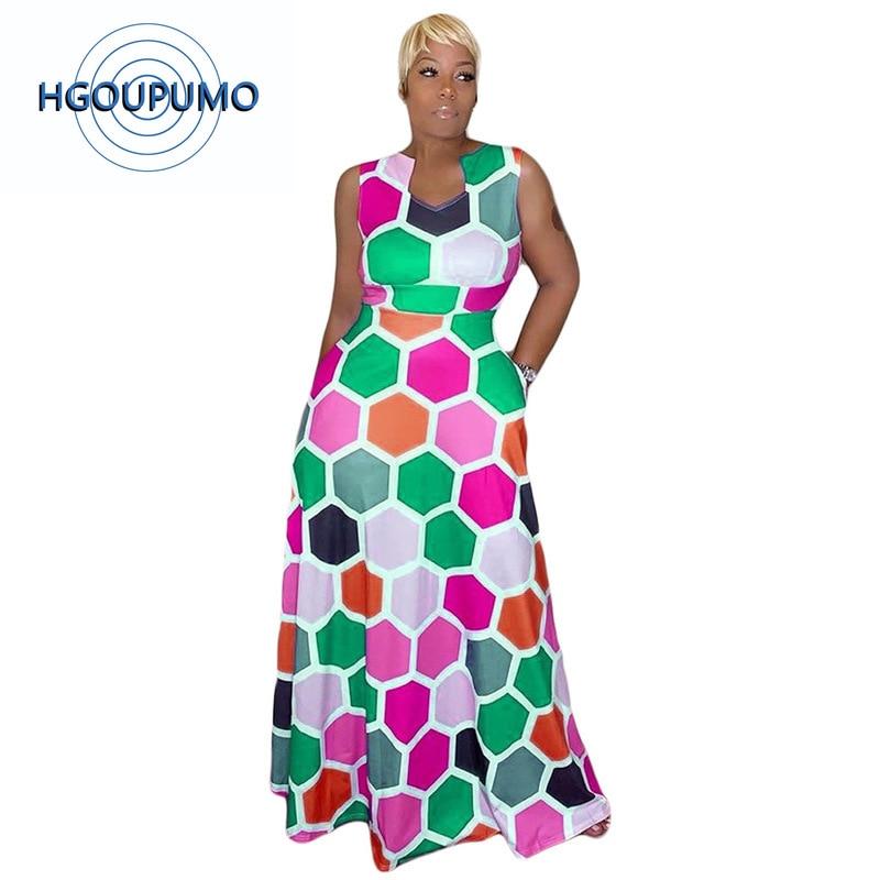 Sexy robe longue géométrique imprimé femmes sans manches taille haute Fit et Flare Maxi robe dames été grande taille robe élégante