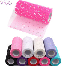 FENGRISE 10 25 Yards 15cm Glitter Sequin Tulle Roll Tutu Organza Rolls Sheer Gauze Element Table Runner Wedding Party Decoration