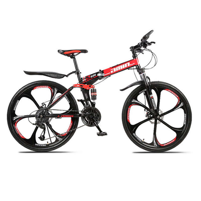 24 26inch folding mountain bike 21 speed double damping 6 knife wheel and 3 knife wheel 24 26inch folding mountain bike 21 speed double damping 6 knife wheel and 3 knife wheel bicycle double disc brakes mountain bike