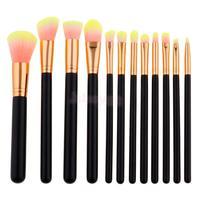 12 Pieces Professional Kabuki Makeup Brushes Cosmetic Tool Kit Facial Cheek Blusher Eyeshadow Powder Cream Brush