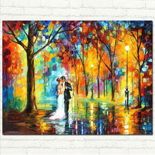 Handpainted modern Rainy Wedding picture PALETTE KNIFE Figure Contemporary Impressionist Oil Painting