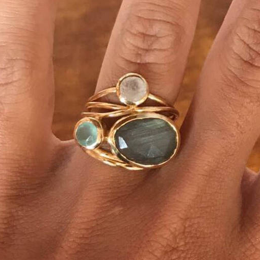 Cute Female Big Crystal Oval Moonstone Ring Fashion Yellow Gold Engagement Ring Vintage Party Wedding Rings For Women
