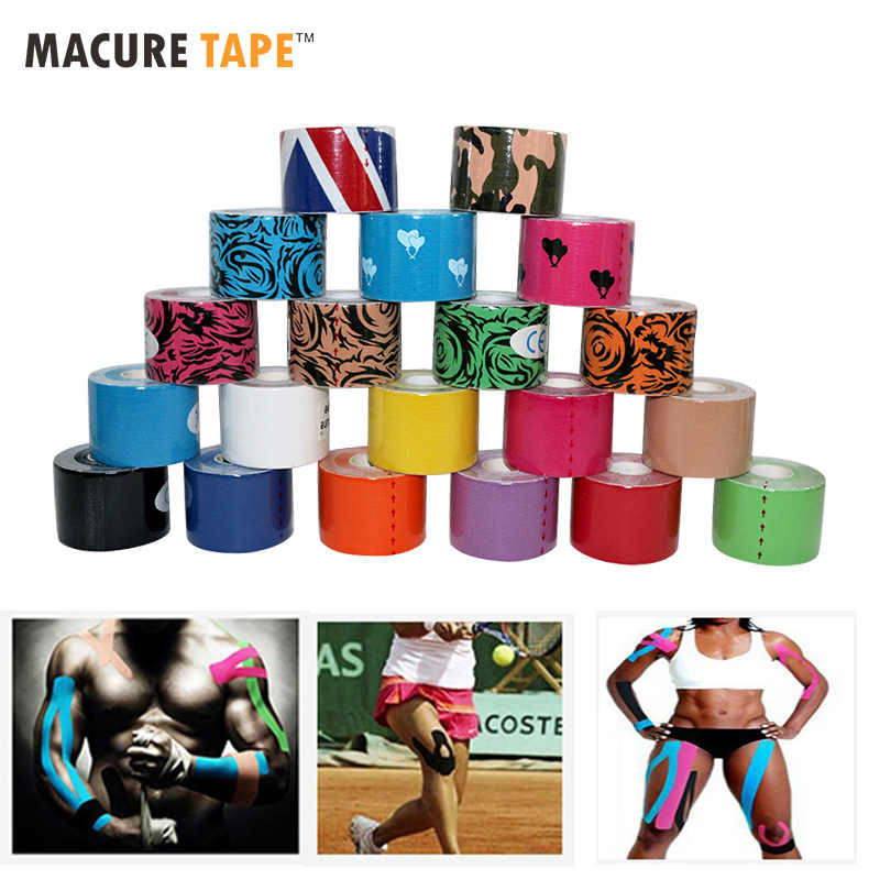 Macure Tape20 couleur 5cm5m Sports kinésiologie bande coton Rock physiothérapie basket football K Active douleur au genou bandes musculaires