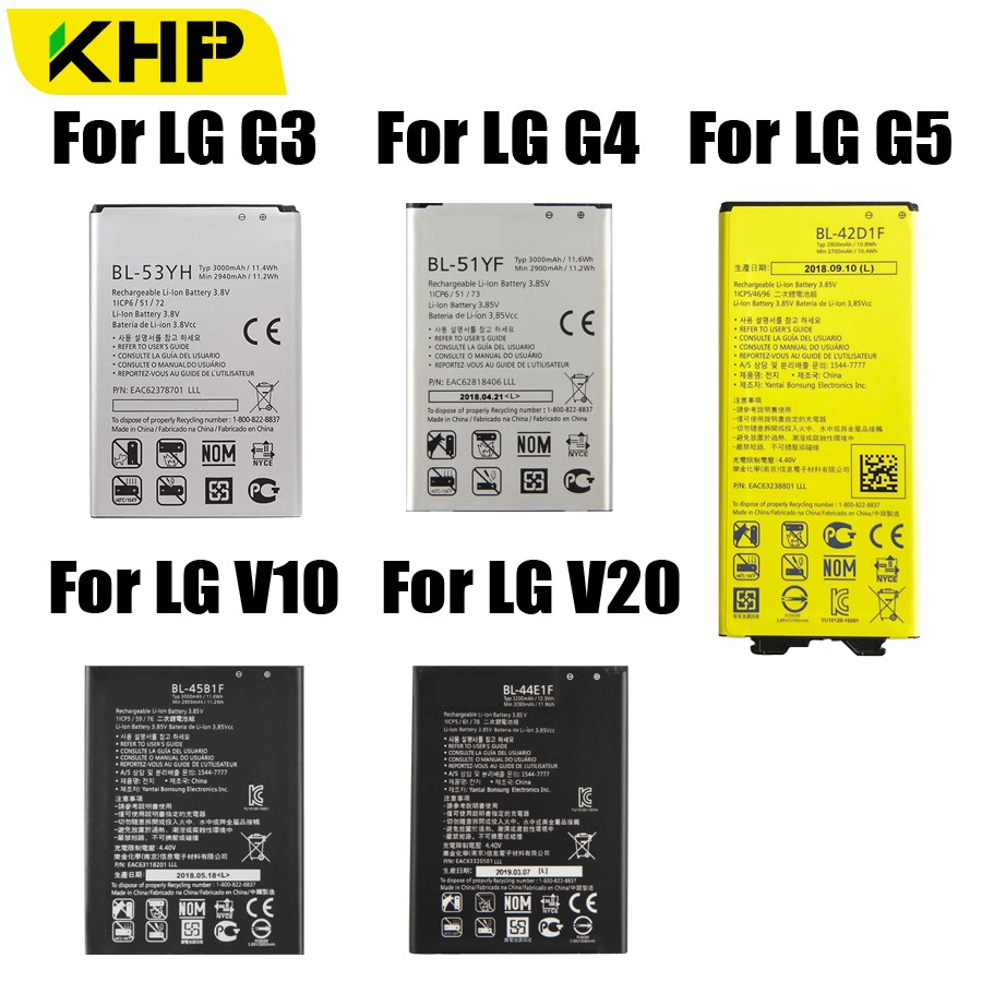 2019 KHP Original Bateria Bateria Do Telefone Para LG G3 G4 G5 V10 V20 BL-53YH BL-51YF BL-42D1F BL-45B1F BL-44E1F Baterias