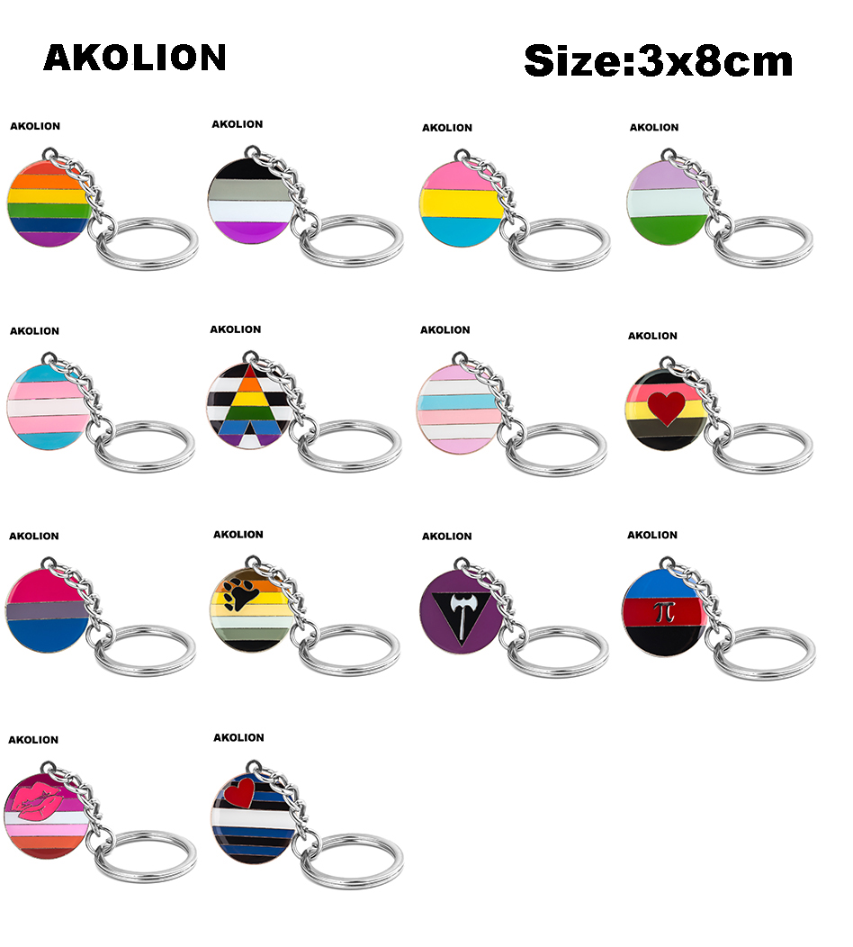 LGBT Pride Rainbow Asexual Bisexual Metal Key Rings Jewelry Keychain for Car Wallet Bag DIY Accessories Gift