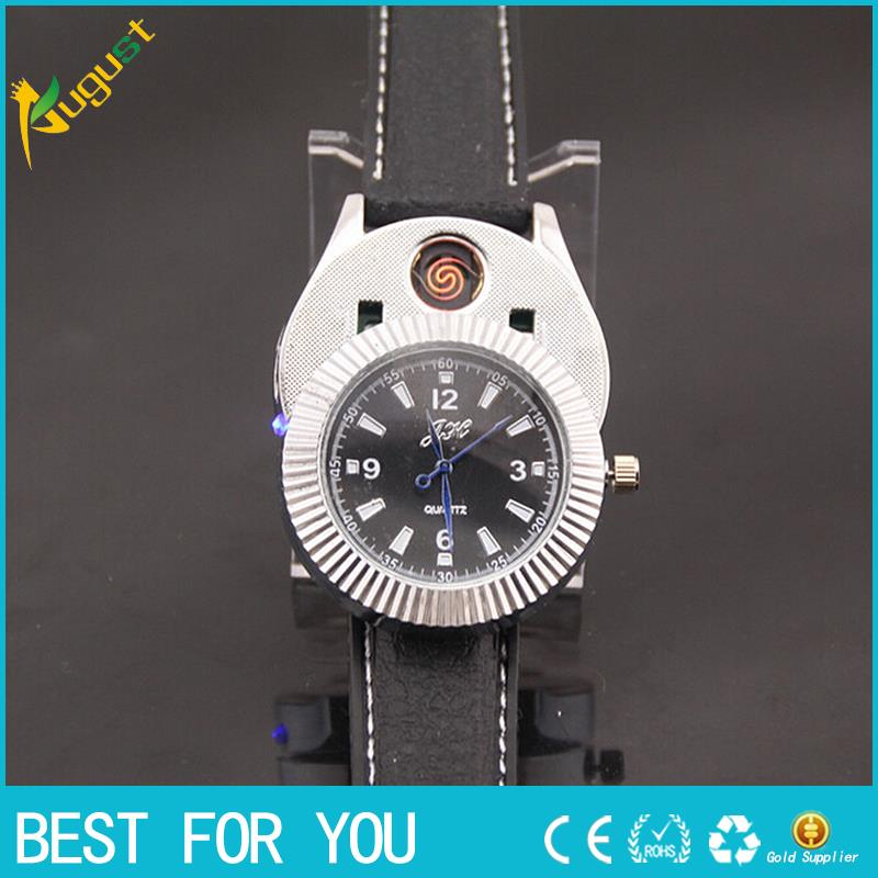 1pcs usb lighter Watch Men Quartz Watches USB Lighter Rechargeable Cigarette Lighter No flame gas Fashion