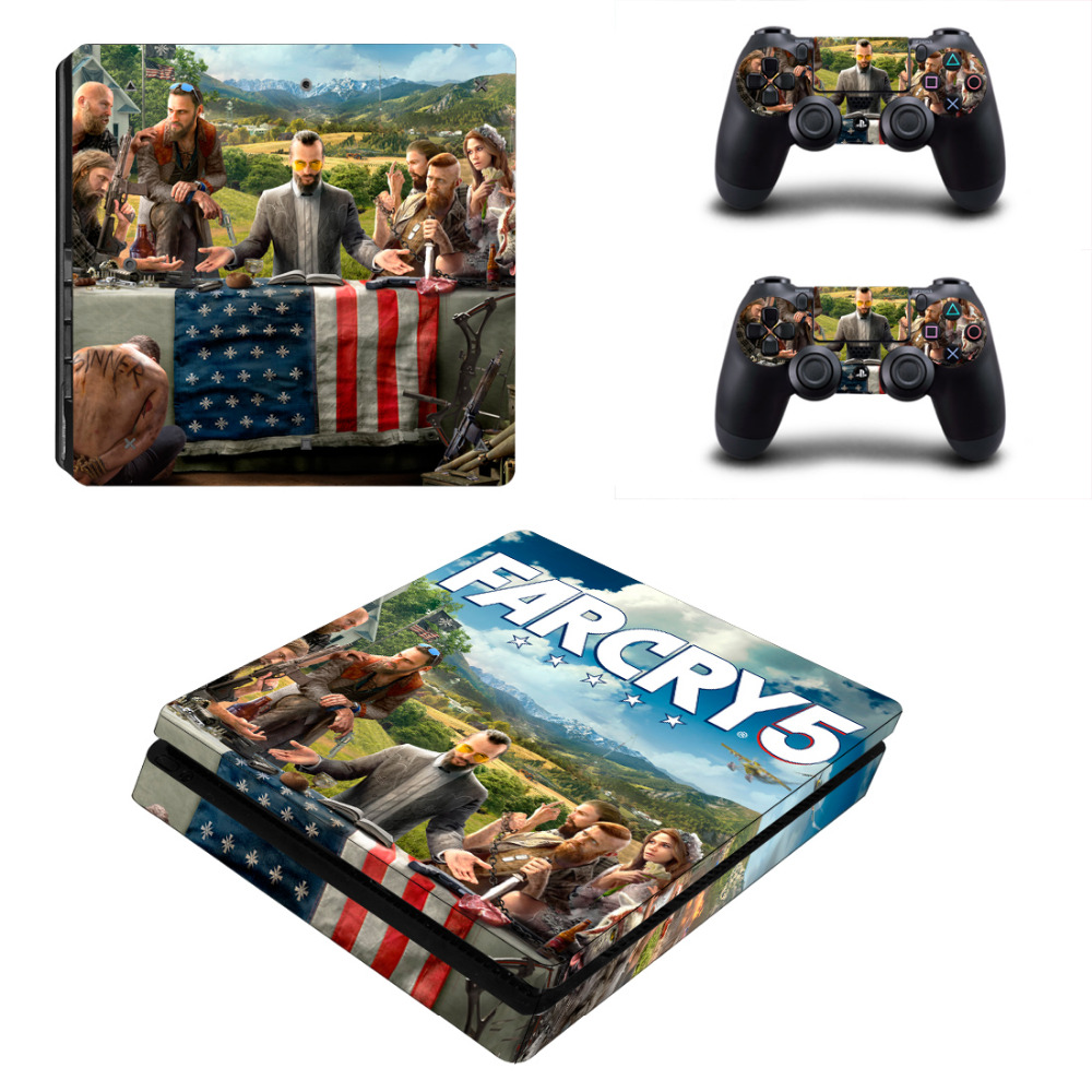 Game Far Cry 5 PS4 Slim Skin Sticker For Sony PlayStation 4 Console and 2 Controllers PS4 Slim Skin Sticker Decal Vinyl image