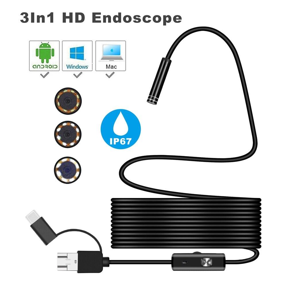 Safurance 3 dans 1 7mm 6Led Type C Étanche Endoscope Caméra Inspection1M USB Câble Endoscope Endoscope IOS Endoscope
