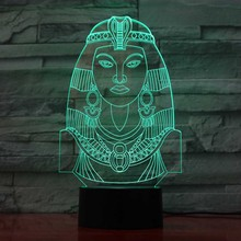 Egyptian Women Modelling Night Lights 7 Colors Changing Led Table Lamp Creative Kids Sleep Lighting