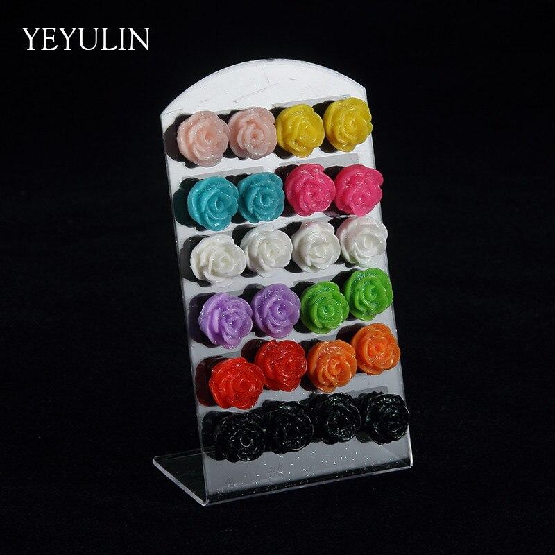 כיתה גבוהה 12 pairs טרנדי צבעים רוז פרח שרף Stud לנשים ילדה תכשיטים סיטונאיים אוזן